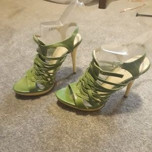 Promise High Heel Platform Sandals Green Size 7